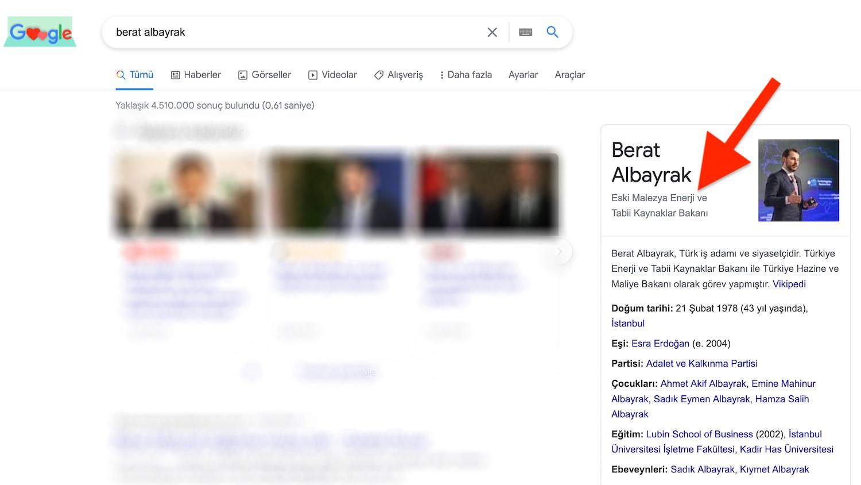 Google Berat Albayrak'ı Eski Malezya Enerji ve Tabii Kaynaklar Bakanı Yaptı