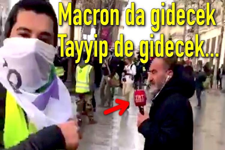Sarı Yelekliler Eylemleri'nde Paris'te bir Türk eylemciden TRT Protestosu...